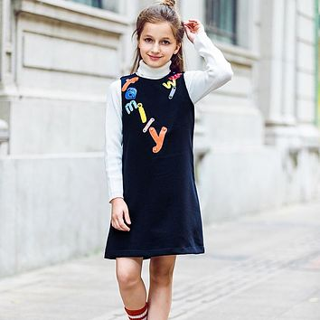 Kids Dresses for Girls Clothes Letter Embroidered Girl Dresses Princess Children Clothing