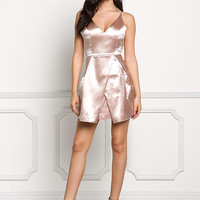 Champagne Lustrous Taffeta Flared Dress