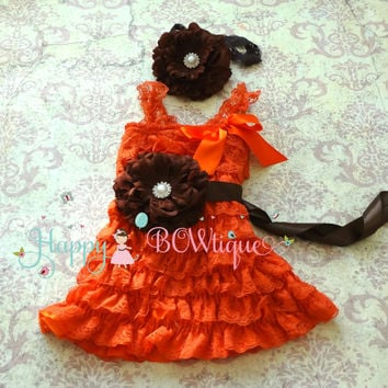Fall Orange Chocolate Flower lace dress set, ruffle dress,Birthday outfit, flower girl dress,Thanksgiving,girls dress,baby girl,halloween