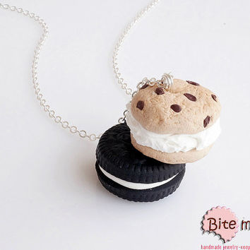 Mini Food Jewelry Oreo and Double Cookie Necklace  - Miniature Food, Handmade Necklace, Polymer Clay Sweets, Dollhouse, Kawaii Jewelry