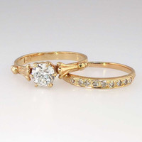 Victorian .80ctw Old Mine Cut Diamond Solitaire Engagement Ring Wedding Band Set 14k/22k