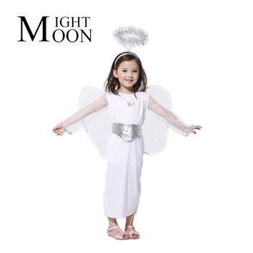 MOONIGHT Stage Performance Halloween Costume Party Cloth Snow Angels Dress With Big Wings Pure White Princess Dress