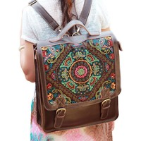 Yesiyan Women's Large Laptop Genuine Leather Embroidery Backpack Travel