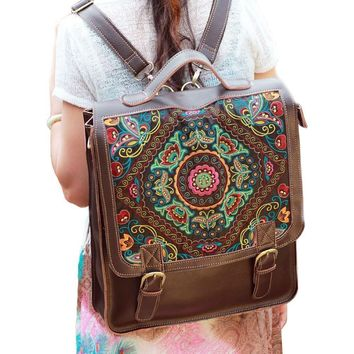 Yesiyan Women's Large Laptop Bag Genuine Leather Embroidery Backpack Travel Bag