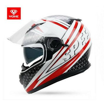 2017 Autumn winter New YOHE  double lens Full Face Motorcycle helmet YH-970 cross-country motorbike riding helmets made of ABS