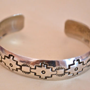 Native American Silver Cuff Bracelet, Stamped Sterling, Navajo Designs,  FREE U S A Shipping