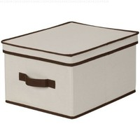 Household Essentials Large Storage Box, Natural Canvas with Brown Trim
