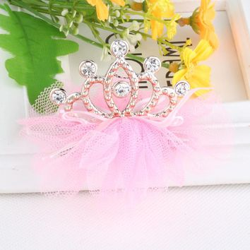 MISM 5 Pcs High Quality Girls Tiaras Kids Barrettes Rhinestone Cute Princess Crown Hairpin Children Hair Clips Accessories