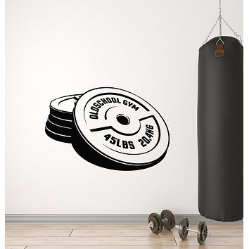 Vinyl Wall Decal Old School Gym Bodybuilding Iron Weight Sports Stickers Mural (g1497)