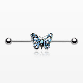 Vintage Turquoise Butterfly Industrial Barbell