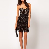 Elise Ryan Sweetheart Bandeau Lace Contrast Skater Dress at asos.com