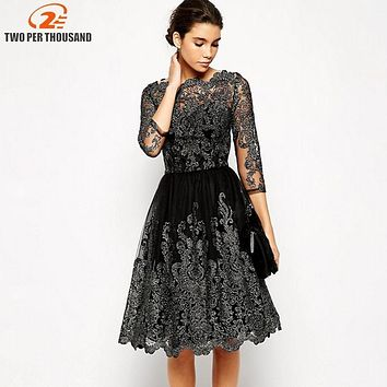 Elegant Women Sliver Embroidery Lace Ball Gown Dress 2018 Vintage Style Sexy Sheer Mesh 3/4 Sleeve Night Out Party Dresses