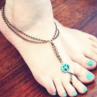 Turquoise Peace Slave Anklet by francisfrank on Etsy
