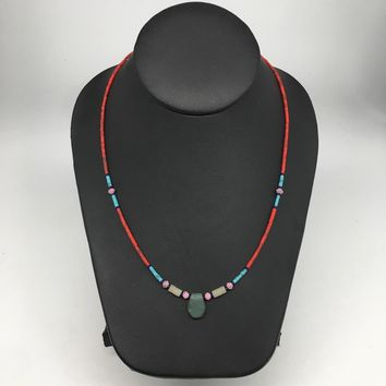 1 Necklace, Nephrite Jade & Red Coral Inlay Beaded Necklace Afghanistan, NPH119