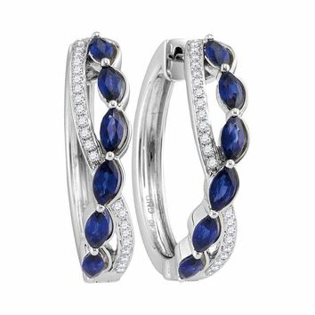 14kt White Gold Women's Oval Natural Blue Sapphire Diamond Woven Hoop Earrings 2-5-8 Cttw - FREE Shipping (US/CAN)
