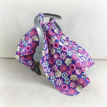 Car Seat Canopy, Cart Cover, Blanket in Purple Monkies & Flowers