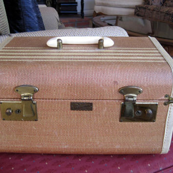 Vintage Tweed Mid Century Train Travel Case