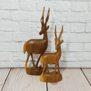 Vintage Carved Wood Deer Fawn Gazelle Statue Stag Figure Set of 2