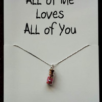 I Love You Miss You Bottle Red Hearts Gift Valentine Day Woman Pendant Necklace