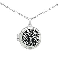 Stamped 925 Sterling Silver Vintage Round Tree Of Life Locket Pendant Necklace