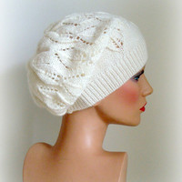 Hand Knit Hat Womens Hat - The Weekender Slouchy Hat in White - READY TO SHIP - Winter Accessories Winter Fashion Winter Hat
