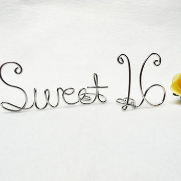 Sweet 16 Wire Cake Topper- Birthday Brown or Silver