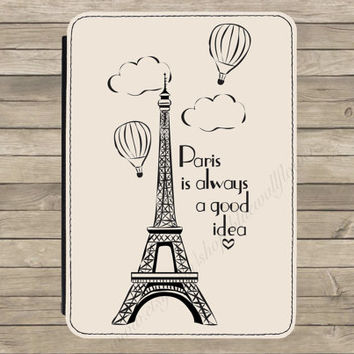 Paris Eiffel Tower Quote Kindle Paperwhite Tablet PU Leather Flip Case Cover