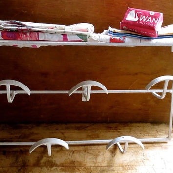 Vintage White Shelf Unit, French, Painted Metal Drying Rack, Hooks for Hats or Towels, Cottage Kitchen, Beach, Bathroom Decor