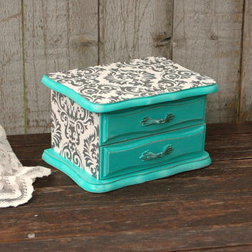 Jewelry Box, Shabby Chic, Tiffany Blue, Aqua, Hand Painted, Damask, Decoupage, Distressed