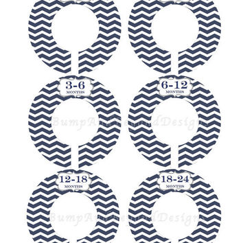 Custom Baby Closet Dividers Navy Blue Chevron Boy Closet Dividers Clothes Organizers Baby Shower Gift Closet Organizers Baby Boy Nursery 004