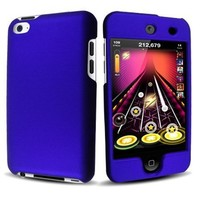 Blue Rubberized Hard Case Phone Cover for Apple iPod Touch 4 / iTouch 4th Generation