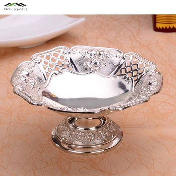 New Silver Plated Fruit Dish Dessert European Plate For Party 17X17X9CM