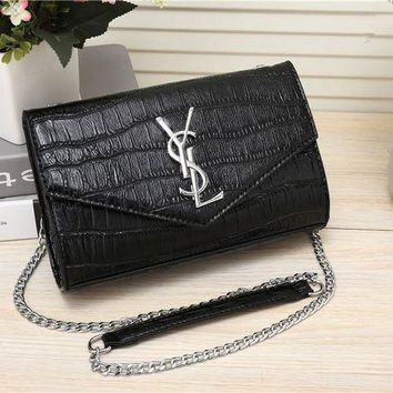 DCCK6HW Yves Saint Laurent YSL' Women Simple Fashion Crocodile Pattern Metal Chain Single Shoulder Messenger Bag Small Square Bag