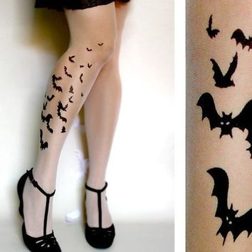 sexy BATS TATTOO thigh-high socks ultra pale