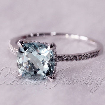 8mm Cushion Cut Vs Aquamarine Ring Micro From Adamjewelry On Etsy