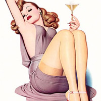 Pinup Poster Redhead Drinking Champagne