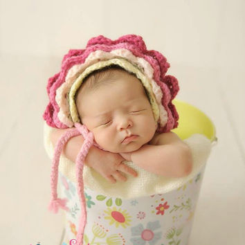 Crochet Baby Flower Bonnet, Newborn, Baby, Infant, Photo Prop, Floral Bonnet, Baby Picture Prop, Baby Girl Hat, Spring, Summer