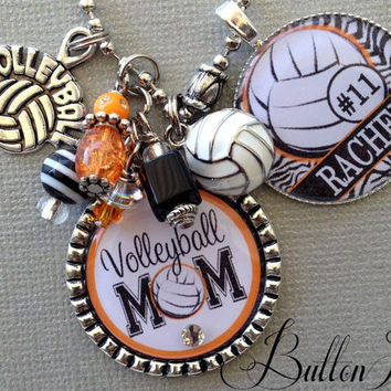 Volleyball Mom Personalized charm necklace, team Colors soccer necklace Club Volleyball Tournament, basketball, senior gift, charm key chain