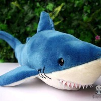 Blue Shark Stuffed Animal Plush Toy 17""