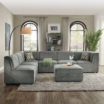 Acme 53780-81-82A 7 pc Bois gray velvet modular sectional sofa with storage ottomans