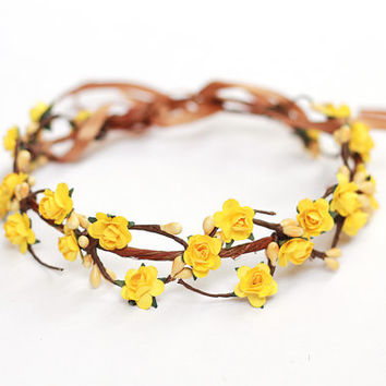 wedding flower crown / dainty yellow rose floral hair wreath headband, halo, bridal, wedding, festival, party, summer, spring.