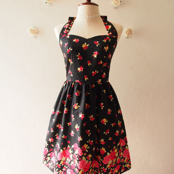 Black Vintage Sundress Red Floral Vintage Inspired Red Floral Garden Dress Tea Party Dress Halter Retro Modern Dress Gift for Women, custom