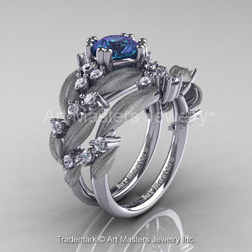 Nature Classic 14K White Gold 1.0 Ct Alexandrite Diamond Leaf and Vine Engagement Ring Wedding Band Set R340SS-14KWGDAL