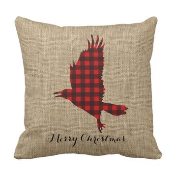 Burlap & Lumberjack Plaid Raven Throw Pillow
