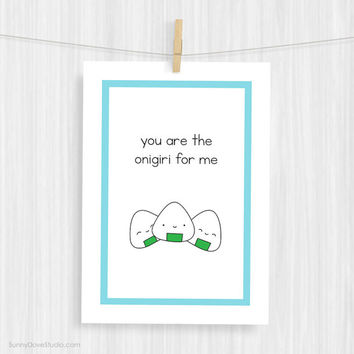 Funny Art Print Cute Sushi Pun Illustration Quote Wall Decor Fun Onigiri Food Love Christmas Gifts Gift Ideas For Girlfriend Wife Her Women