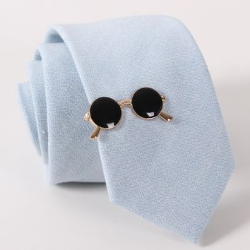 Black and Gold Eyeglasses Tie Clip