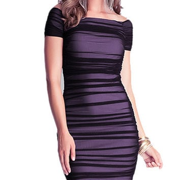 Dark Purple Mesh Ruched Off-Shoulder Bodycon Dress