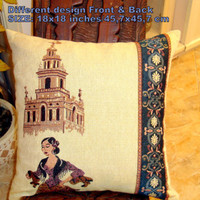 Seville Art – Vintage historic tradition pillow cover 18x18
