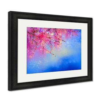 Framed Print, Watercolor Painting Cherry Blossoms Japanese Cherry Sakura Floral With Blue Sky