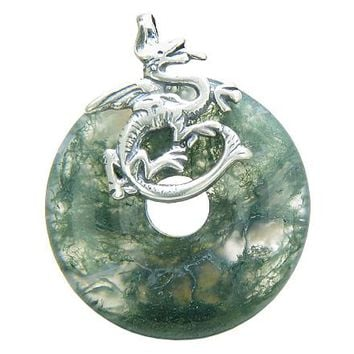Dragon Good Luck Magic Amulet Lucky Donut Green Moss Agate Gemstone Sterling Silver Pendant